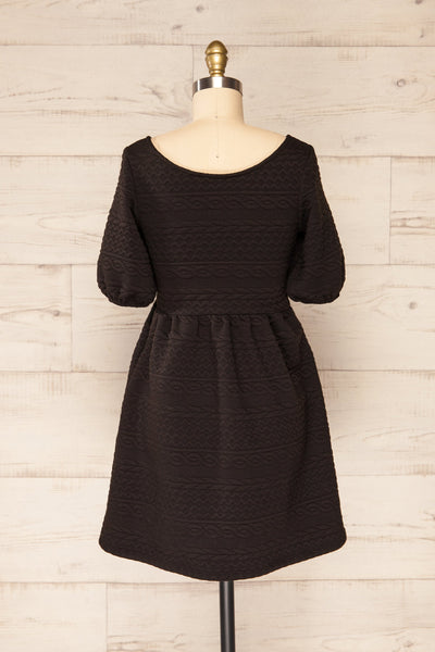 Maihori Black Short Knitted Dress w/ Pockets | La petite garçonne back view