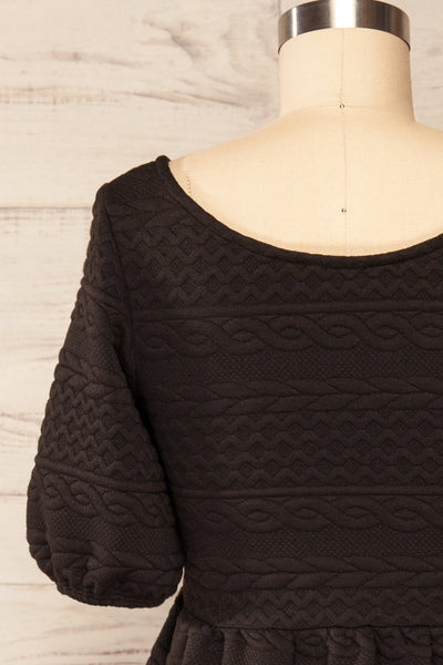 Maihori Black Short Knitted Dress w/ Pockets | La petite garçonne back close up