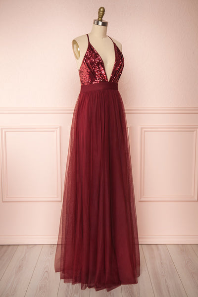 Maikai Burgundy Tulle Maxi Dress w/ Sequins | Boutique 1861 side view