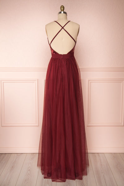 Maikai Burgundy Tulle Maxi Dress w/ Sequins | Boutique 1861 back view