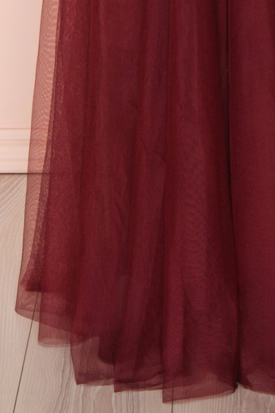 Maikai Burgundy Tulle Maxi Dress w/ Sequins | Boutique 1861 skirt