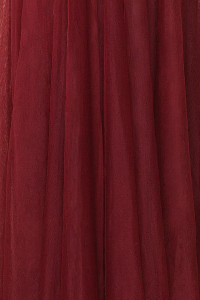 Maikai Burgundy Tulle Maxi Dress w/ Sequins | Boutique 1861 fabric