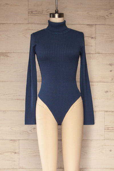 Mainz Blue Long Sleeve Turtleneck Bodysuit | La petite garçonne front view