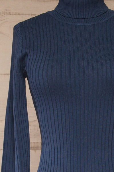 Mainz Blue Long Sleeve Turtleneck Bodysuit | La petite garçonne front close-up