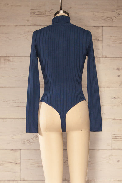 Mainz Blue Long Sleeve Turtleneck Bodysuit | La petite garçonne back view