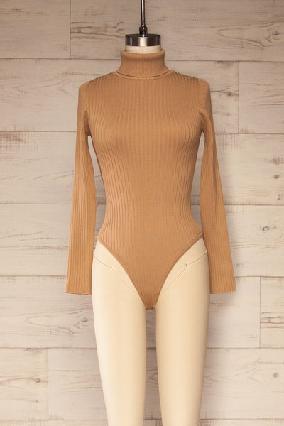 Mainz Taupe Long Sleeve Turtleneck Bodysuit | La petite garçonne front view