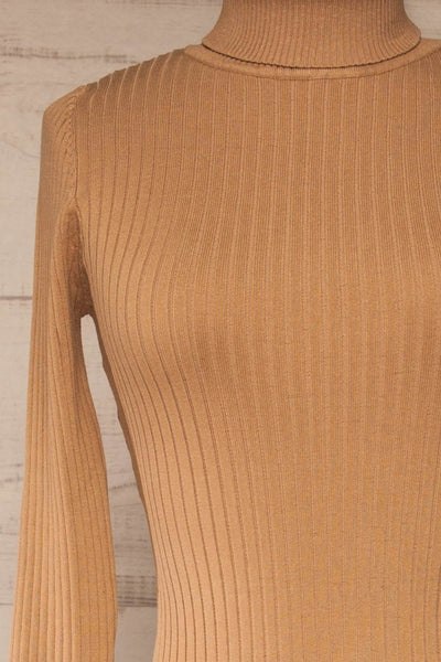Mainz Taupe Long Sleeve Turtleneck Bodysuit | La petite garçonne front close-up