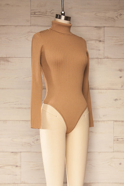 Mainz Taupe Long Sleeve Turtleneck Bodysuit | La petite garçonne side view