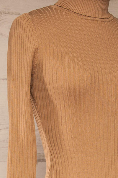 Mainz Taupe Long Sleeve Turtleneck Bodysuit | La petite garçonne side close-up