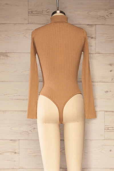 Mainz Taupe Long Sleeve Turtleneck Bodysuit | La petite garçonne back view