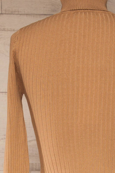 Mainz Taupe Long Sleeve Turtleneck Bodysuit | La petite garçonne back close-up