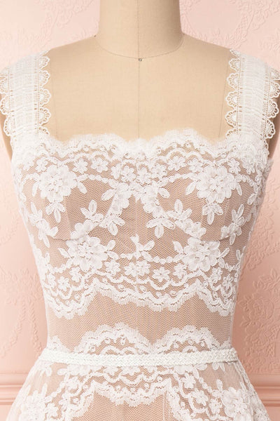 Makamea White & Beige Lace A-Line Bridal Dress | Boudoir 1861