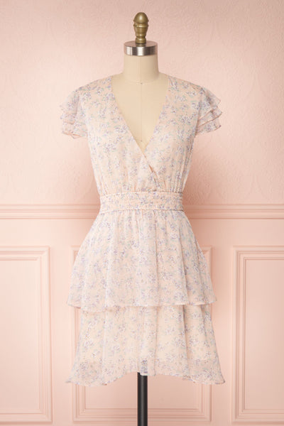 Malena Light Pink Short Sleeve Floral Dress | Boutique 1861 front view