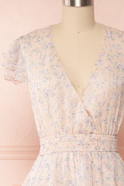 Malena Light Pink Short Sleeve Floral Dress | Boutique 1861 front close up