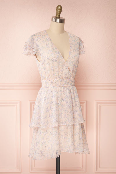 Malena Light Pink Short Sleeve Floral Dress | Boutique 1861 side view