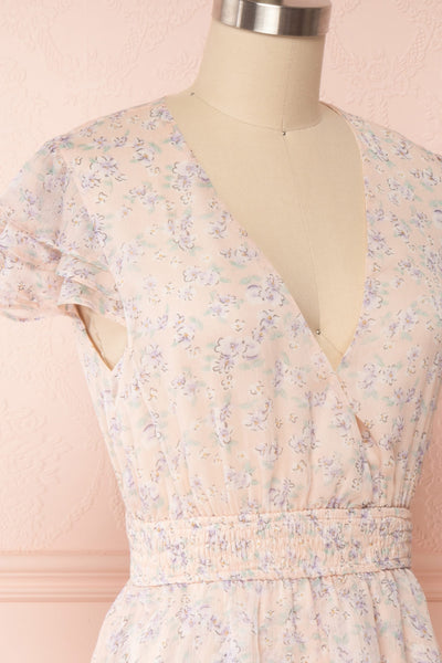 Malena Light Pink Short Sleeve Floral Dress | Boutique 1861 side close up