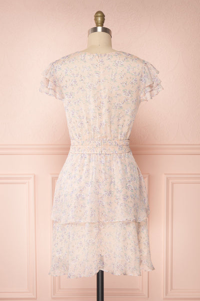 Malena Light Pink Short Sleeve Floral Dress | Boutique 1861 back view