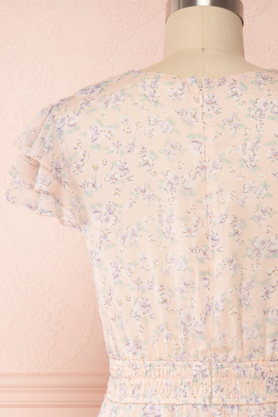 Malena Light Pink Short Sleeve Floral Dress | Boutique 1861 back close up