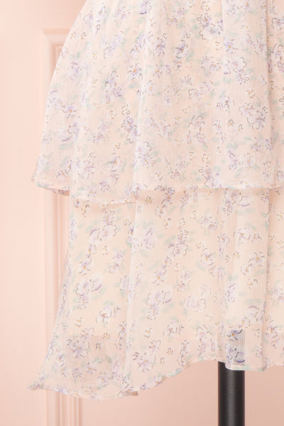 Malena Light Pink Short Sleeve Floral Dress | Boutique 1861 bottom