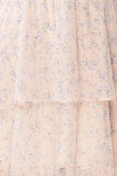 Malena Light Pink Short Sleeve Floral Dress | Boutique 1861 fabric