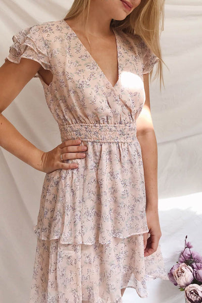 Malena Light Pink Floral Short Dress | Boutique 1861 on model