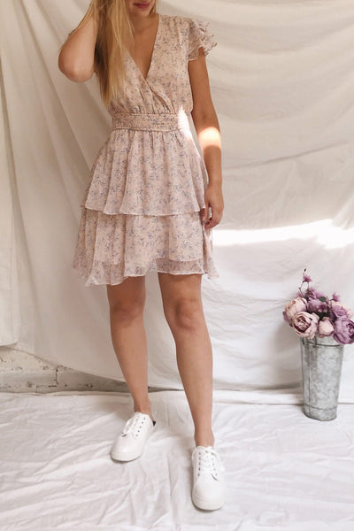Malena Light Pink Floral Short Dress | Boutique 1861 model look