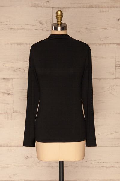 Malmo Black Mock Neck Long Sleeve Top | La petite garçonne front view