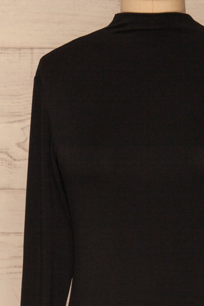 Malmo Black Mock Neck Long Sleeve Top | La petite garçonne front close-up
