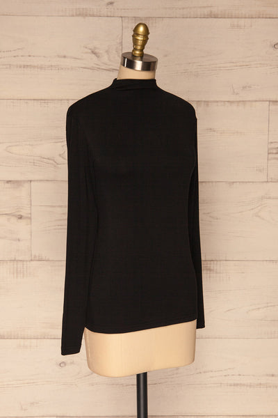 Malmo Black Mock Neck Long Sleeve Top | La petite garçonne side view
