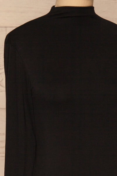 Malmo Black Mock Neck Long Sleeve Top | La petite garçonne side close-up