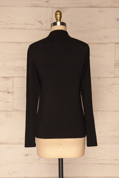 Malmo Black Mock Neck Long Sleeve Top | La petite garçonne back view