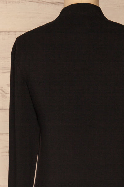 Malmo Black Mock Neck Long Sleeve Top | La petite garçonne back close-up