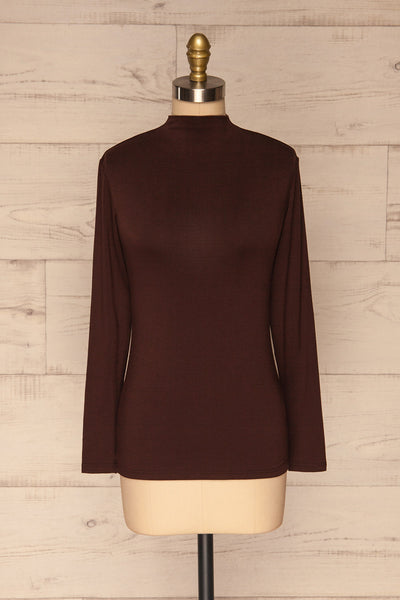 Malmo Brown Mock Neck Long Sleeve Top | La petite garçonne front view