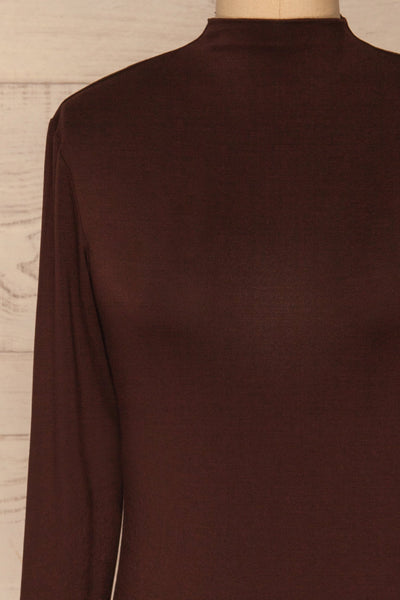 Malmo Brown Mock Neck Long Sleeve Top | La petite garçonne front close-up
