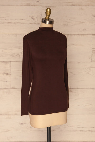 Malmo Brown Mock Neck Long Sleeve Top | La petite garçonne side view