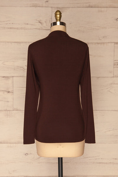 Malmo Brown Mock Neck Long Sleeve Top | La petite garçonne back view
