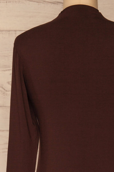Malmo Brown Mock Neck Long Sleeve Top | La petite garçonne back close-up