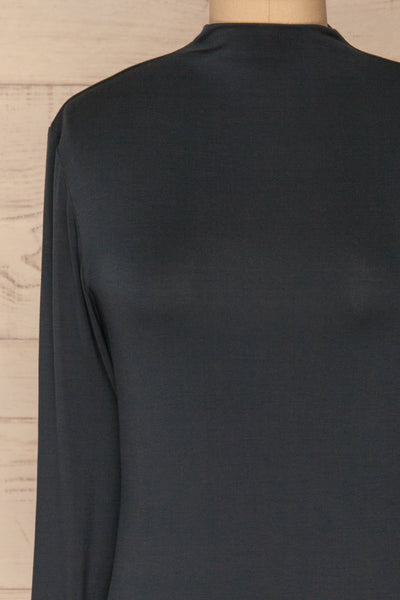 Malmo Teal Mock Neck Long Sleeve Top | La petite garçonne front close-up