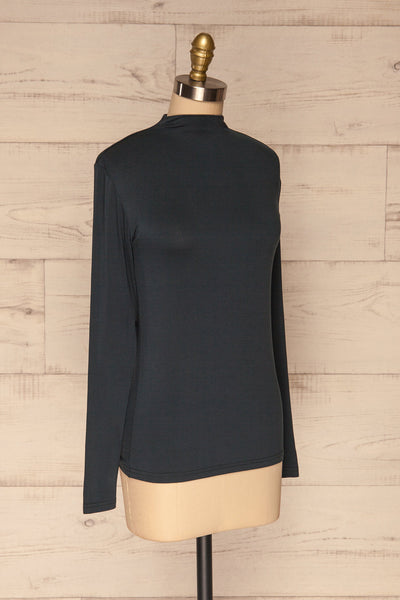 Malmo Teal Mock Neck Long Sleeve Top | La petite garçonne side view