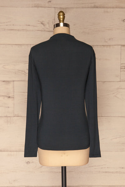 Malmo Teal Mock Neck Long Sleeve Top | La petite garçonne back view