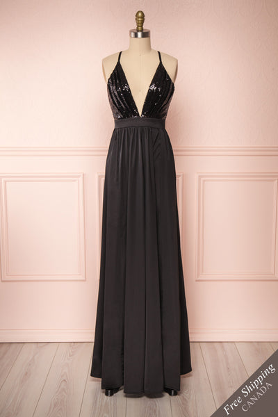 Mana Black Maxi Dress w/ Sequins | Boutique 1861 front view