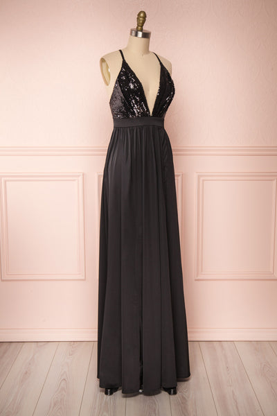 Mana Black Maxi Dress w/ Sequins | Boutique 1861 side close up