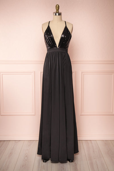Mana Black Maxi Dress w/ Sequins | Boutique 1861 back view