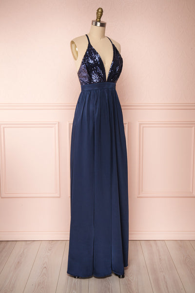 Mana Navy Blue Maxi Dress w/ Sequins | Boutique 1861 side view
