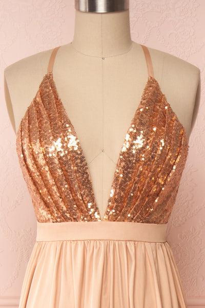 Mana Rosegold Maxi Dress w/ Sequins | Boutique 1861 front close up