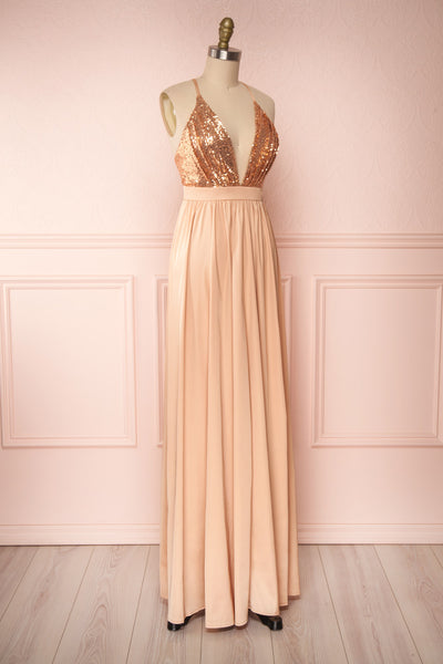 Mana Rosegold Maxi Dress w/ Sequins | Boutique 1861 side view