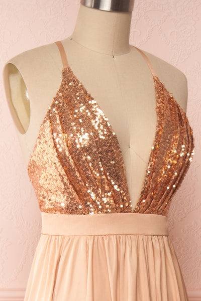 Mana Rosegold Maxi Dress w/ Sequins | Boutique 1861 side close up