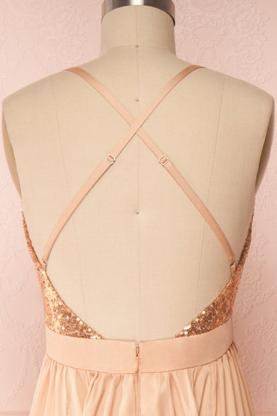 Mana Rosegold Maxi Dress w/ Sequins | Boutique 1861 back close up