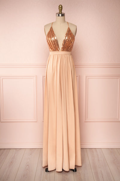 Mana Rosegold Maxi Dress w/ Sequins | Boutique 1861 fabric