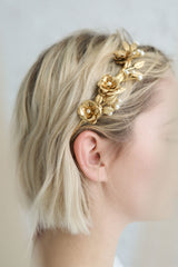 Mania Golden Flowers & Leaves Headband with Pearls | Boudoir 1861